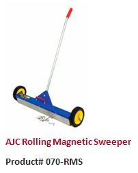 The AJC Rolling Magnetic Sweeper uses powerful magnets to pick up metal objects